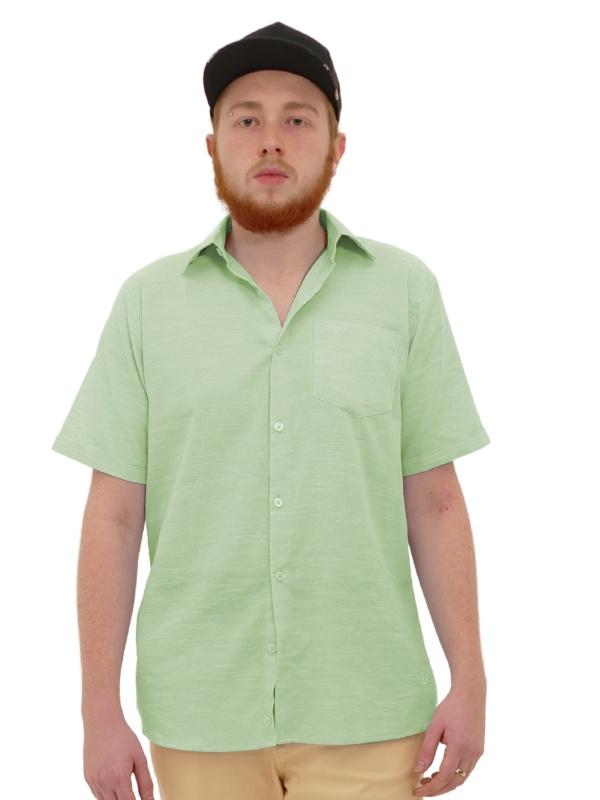 Camisa Manga Curta Linho Slim Verde