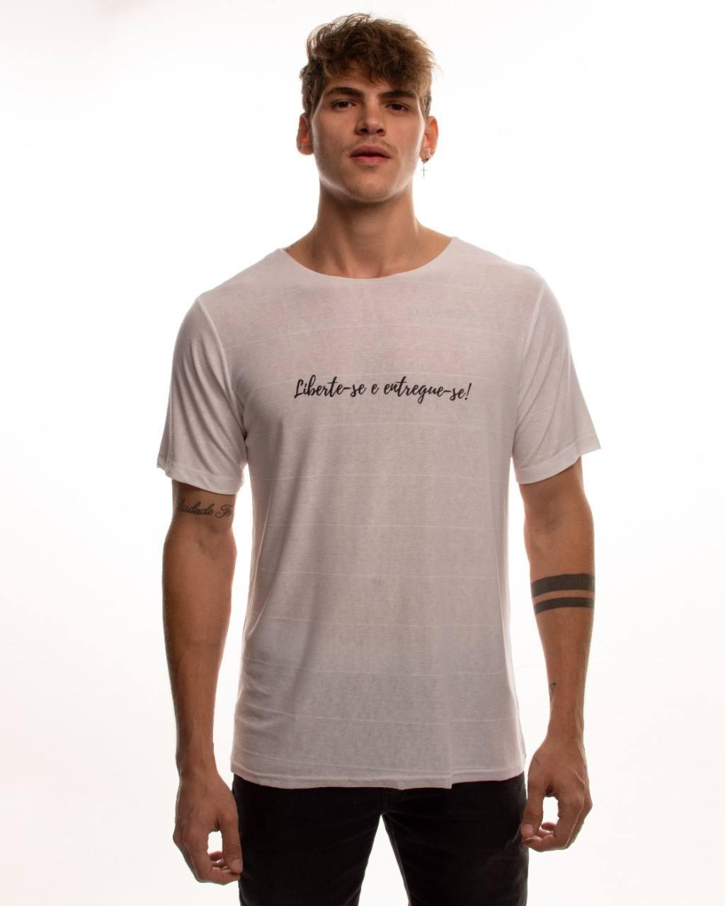 """Camiseta Branca """"Liberte-se e entregue-se"""""""