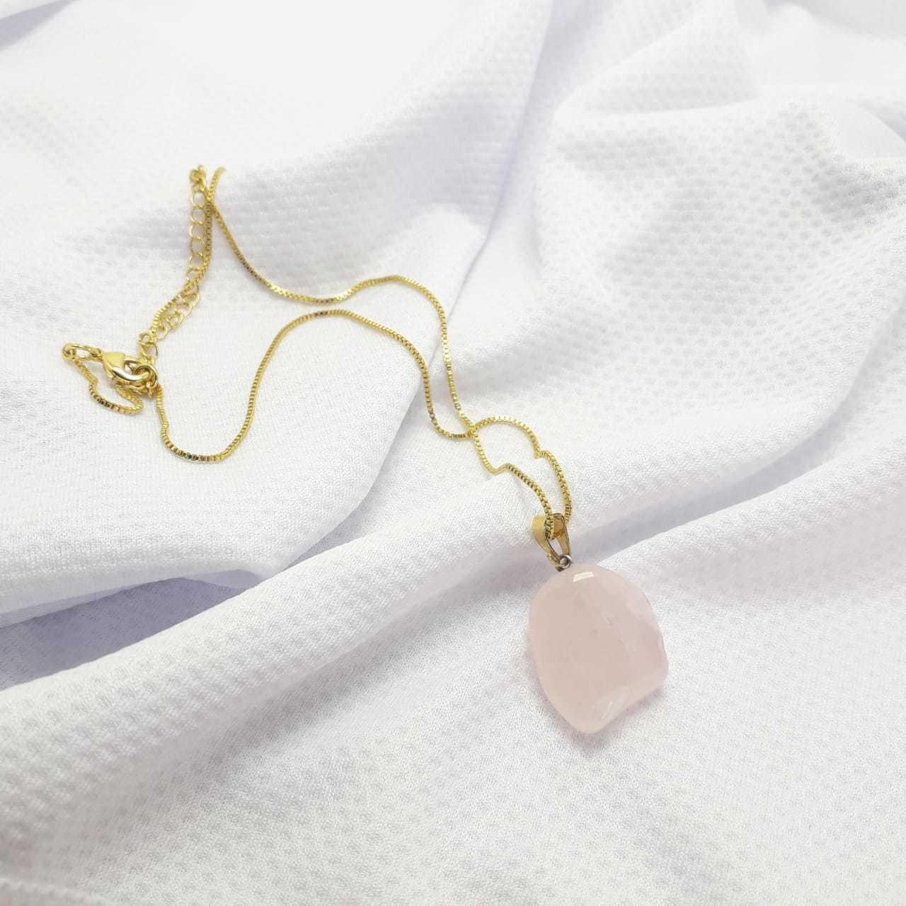 Colar Banho de Ouro Quartzo Rosa