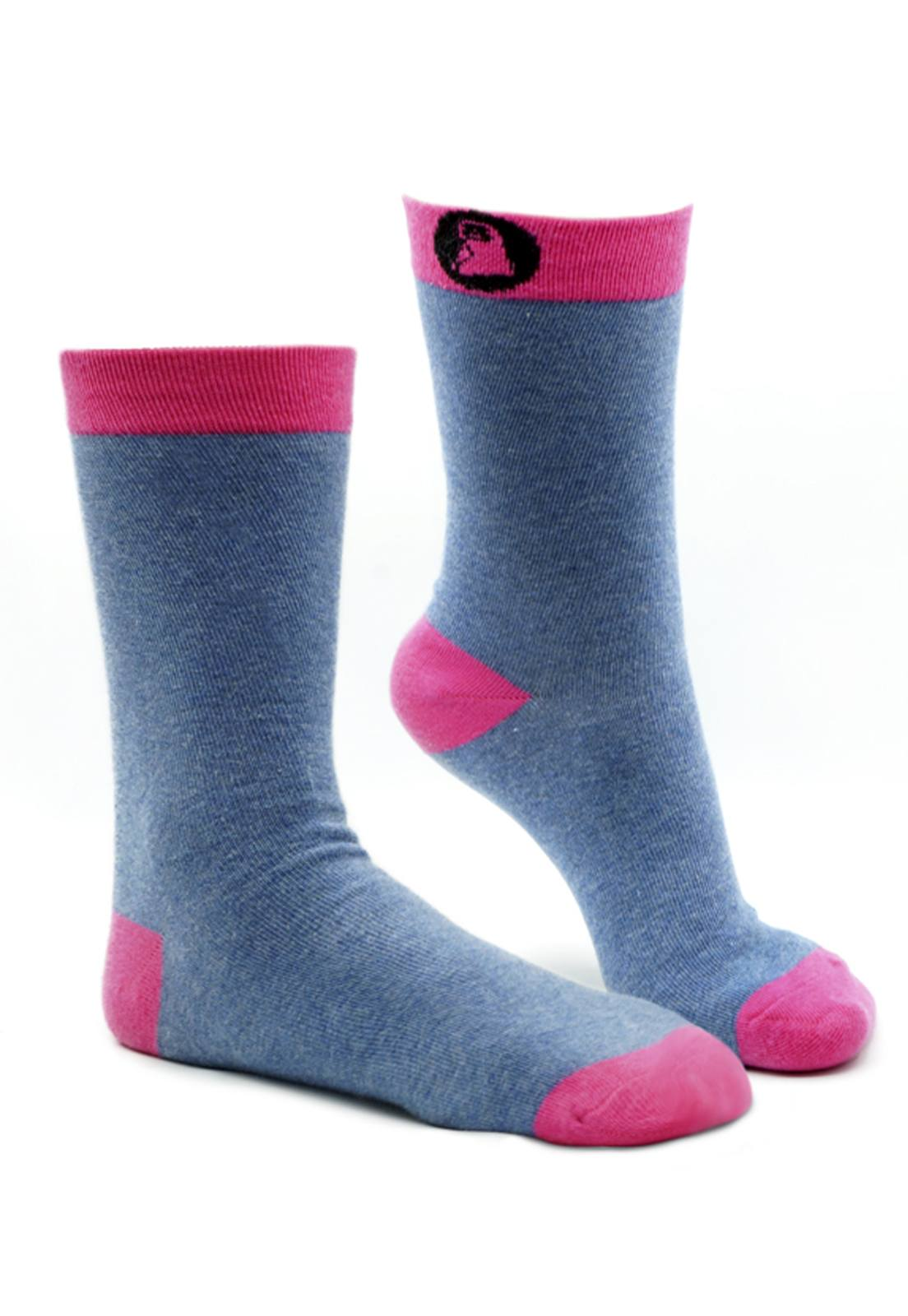 Meia Vegana Jeans c/ Pink