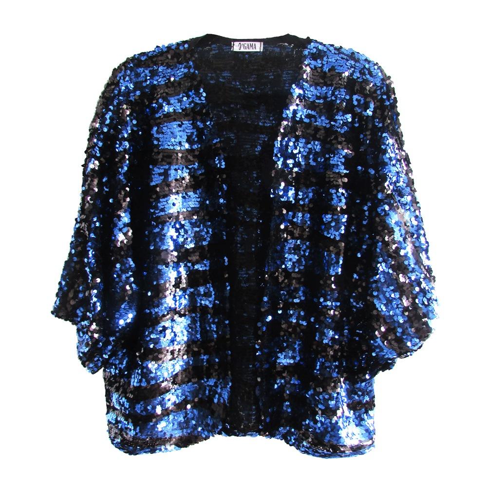 Kimono de Paetê Azul e Preto