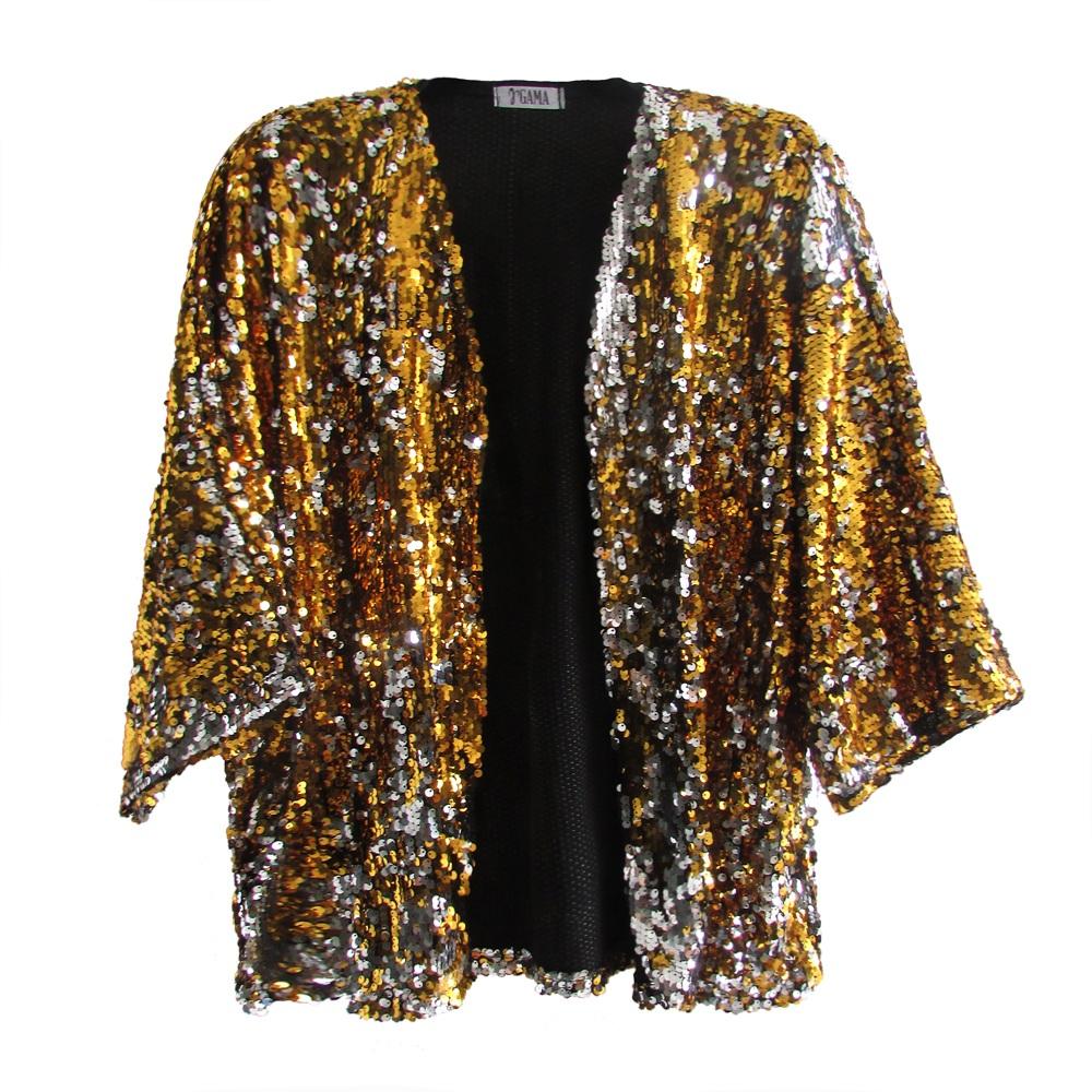 Kimono Paetê Dourado e Prata
