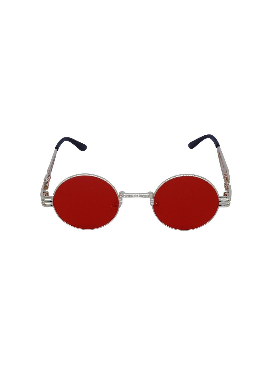Óculos de Sol Grungetteria Creepy Dourado e Vermelho