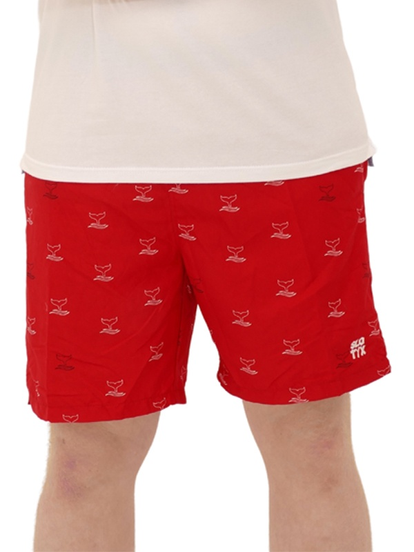 Shorts Estampado Baleia Vermelho