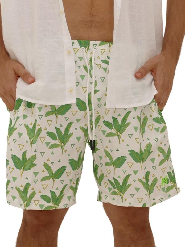 Shorts Estampado Folhas Branco