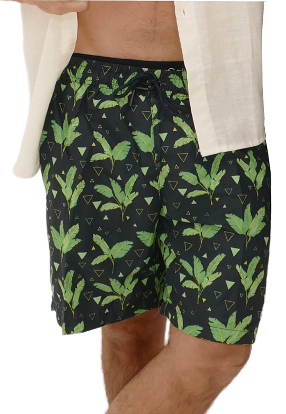 Shorts Estampado Folhas Preto