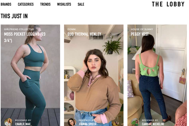 screen grab of the lobby's website depicting women modeling clothing