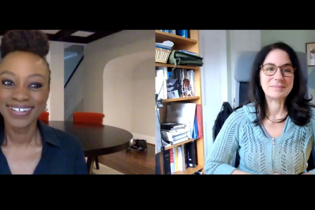 Femi Oke and Leslie Shampaine, co-founders of Moderate the Panel, in a video chat
