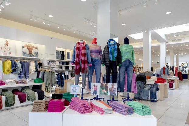display of gap leisure clothing in store