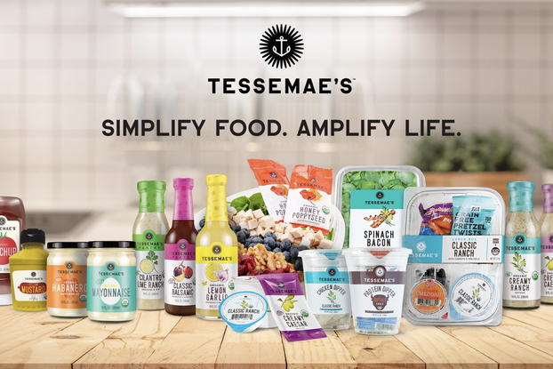 Display of Tessemae's products on a kitchen counter.