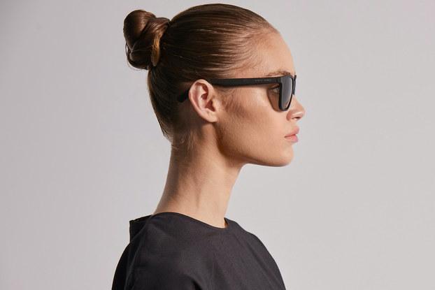 Model wearing Covalent's Berguson sunglasses.
