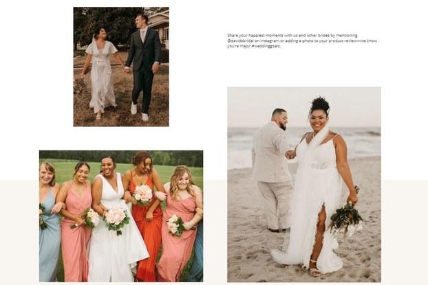 Collage of David's Bridal customers posting on social media.