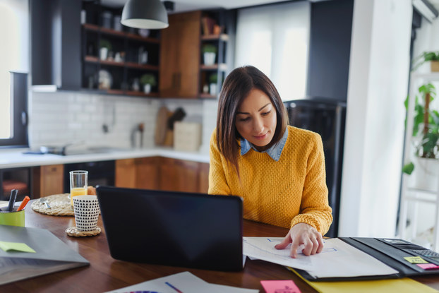 Young business entrepreneur woman working at home