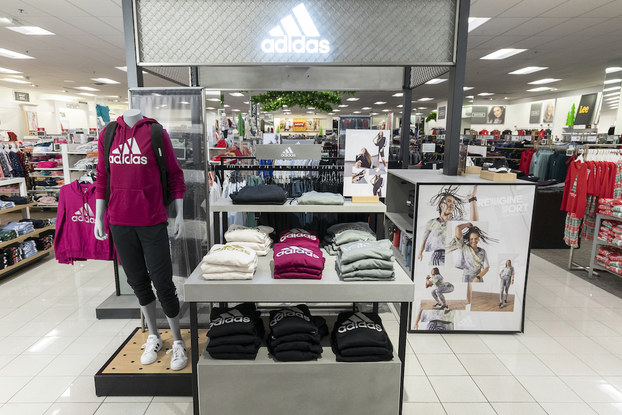 Adidas display section inside a Kohl's location.