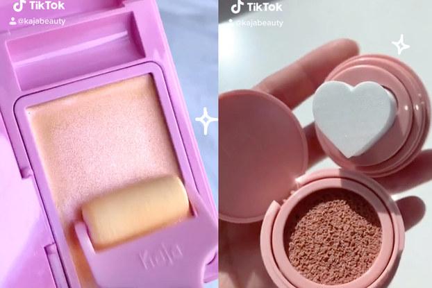Screenshots of Kaja Beauty promoting its products on video app TikTok.