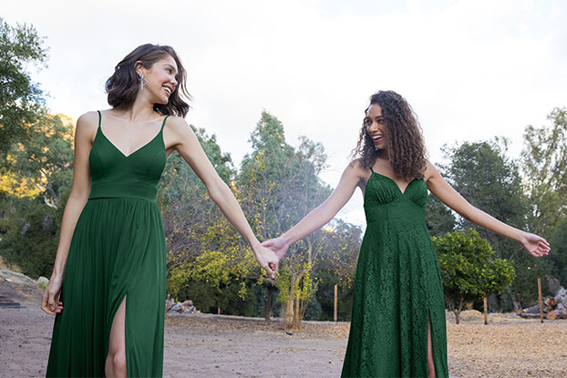 Two models wearing Azazie bridesmaid dresses.