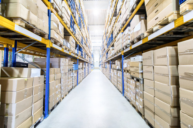 Large and modern warehouse with boxed products