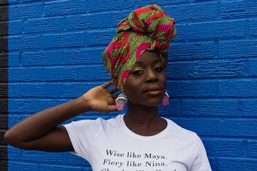 Model wearing a shirt by fashion startup Draped.