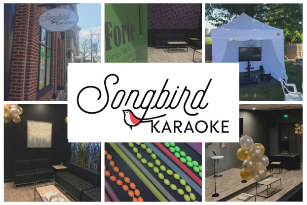 """A collage of images arranged behind the Songbird Karaoke logo, which is the word """"Songbird"""" in cursive above the word """"Karaoke"""" in capital letters and a red-and-white bird perched in the tail of the """"g"""" in """"Songbird."""" The six pictures in the collage are (clockwise from top left) the outside of Songird's location, a seating area with a green wall decorated with text defining the word """"Forte,"""" an outdoor karaoke setup with a TV screen under a white tent, a karaoke room with a small stage decorated with gold and silver balloons, a close-up on three sets of neon-colored beaded necklaces, and a seating area in a karaoke room decorated with gold and silver balloons and tinsel."""