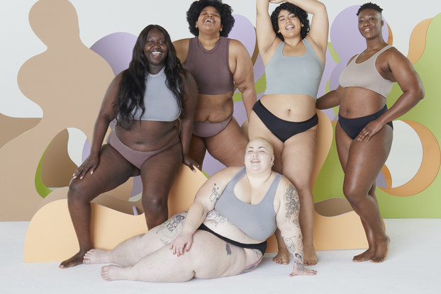 Image of plus-size models posing in Thinx period underwear.