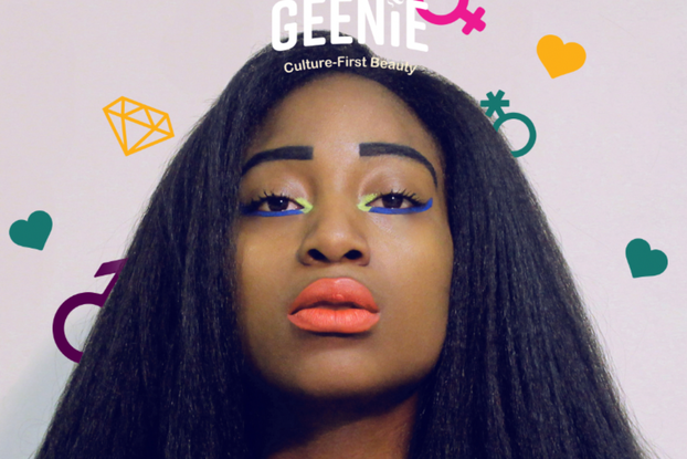 Woman modeling Geenie products.