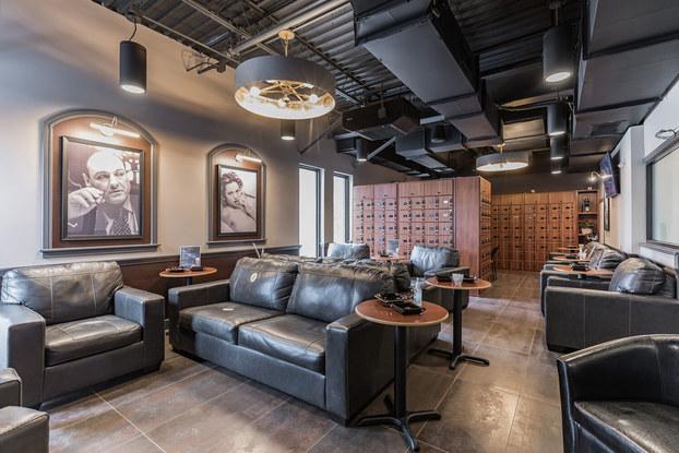 Interior of Atlantic Cigar's brick-and-mortar lounge.