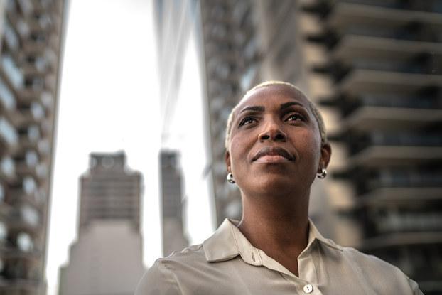Businesswoman looking away outdoors
