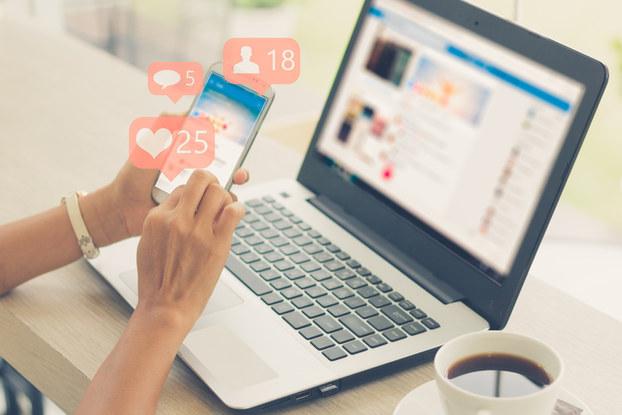laptop, social media, phone