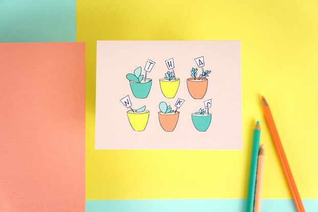 Colorful card and colored pencils by Tuxberry and Whit.