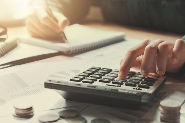 calculator, pad, pen, math