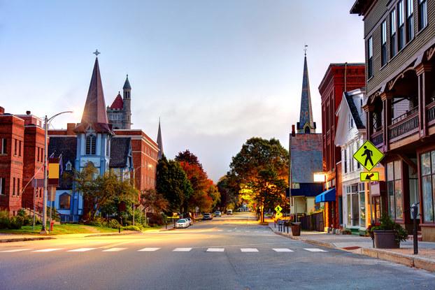 Main street of St. Johnsbury, Vermont.