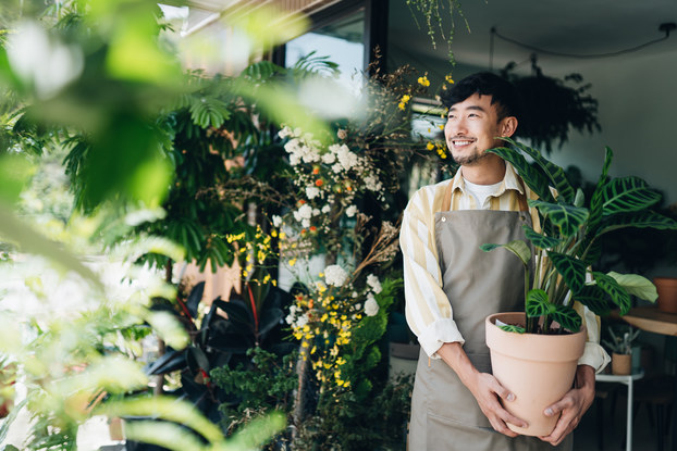 Man working in plant nursery holding a potted plant.