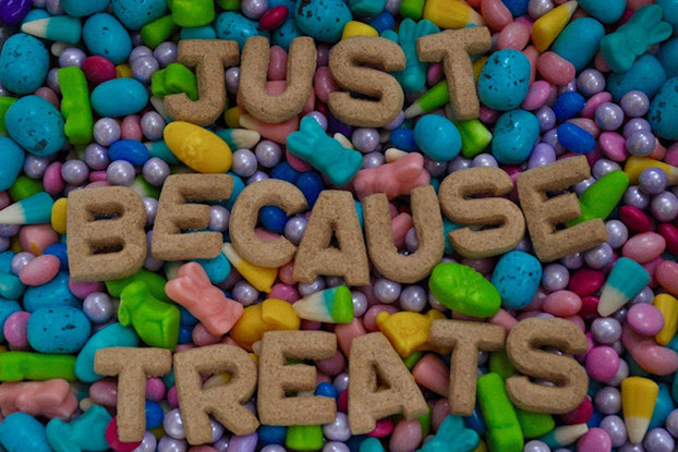 """Multi-colored candy displays below letter-shaped food that spells, """"Just because treats."""""""
