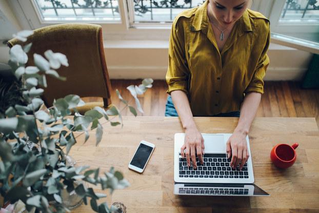 woman freelancer working on laptop