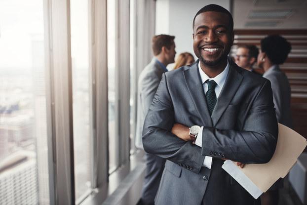 Happy man in business suit