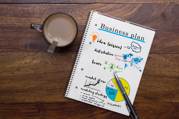 Business plan in notebook