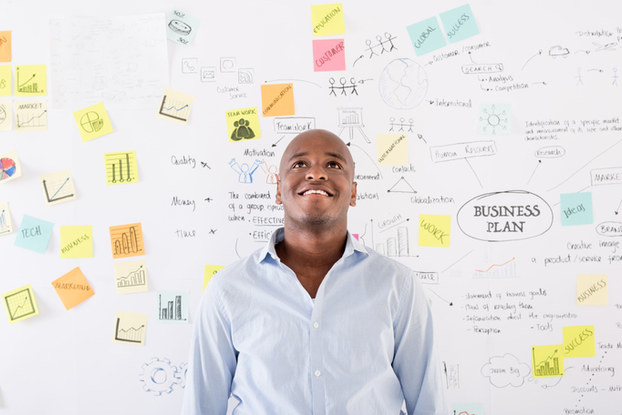 Man thinking about business plan