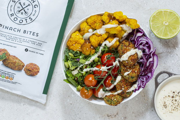 strong roots buddha bowl and packaging