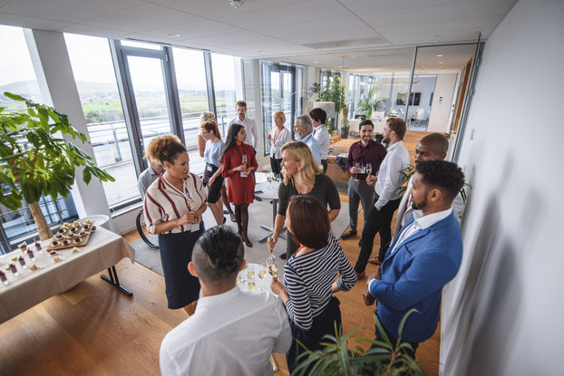 group of professionals at a networking event