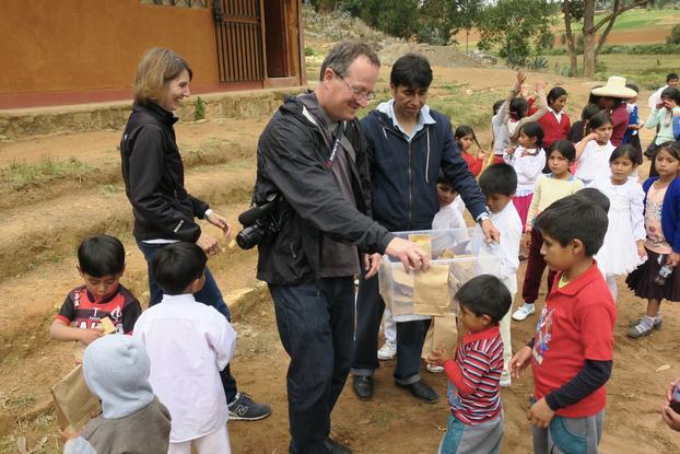 Bill Bass at with Peruvian school children