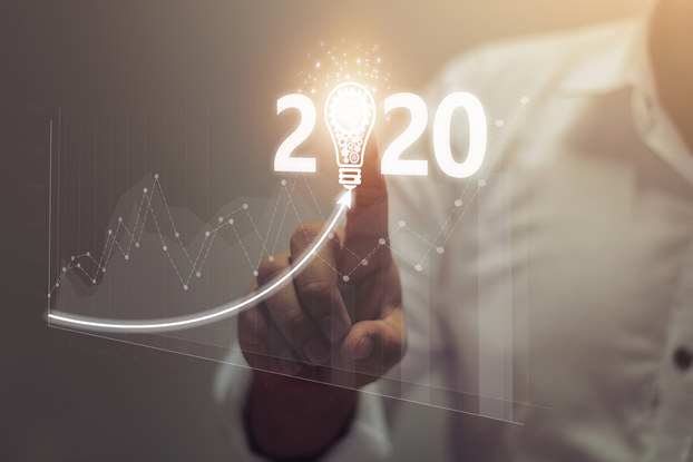 lit up graph showing business growth 2020