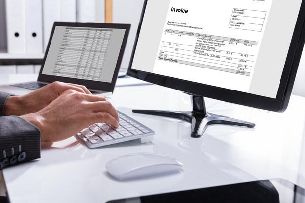 Invoice on monitor