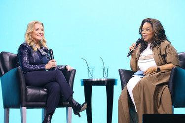 oprah and mindy grossman on stage