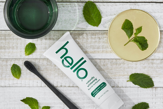 hello products natural cbd-infused toothpaste on a table
