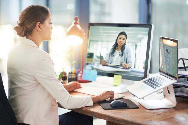 two women having an online meeting