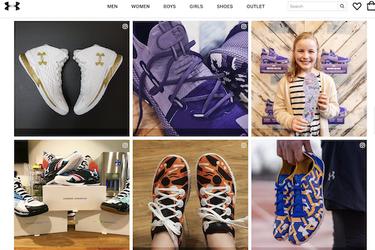 underarmour's website showing sneakers
