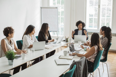 female employees in a business meeting