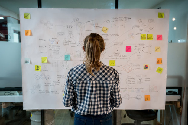 woman starting at poster board with notes