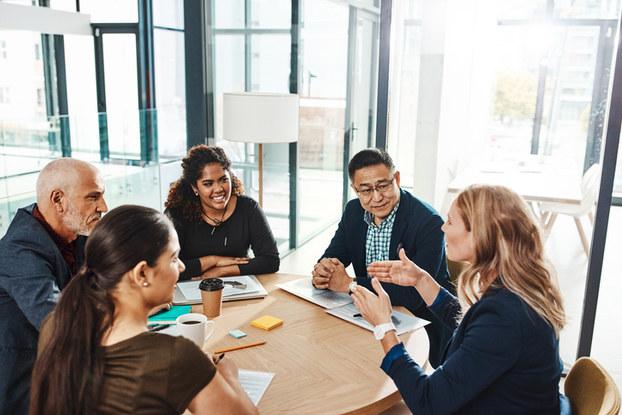 coworkers in a team meeting