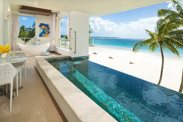 sandals royal barbados beachfront suite with tub